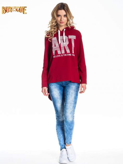 Czerwona damska bluza z kapturem i napisem ART                                  zdj.                                  2