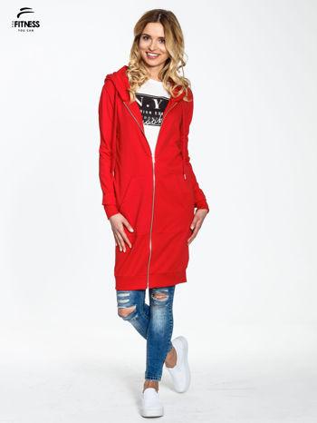 Czerwona długa bluza z kapturem                                   zdj.                                  8