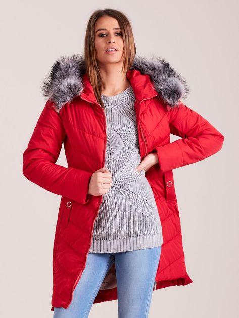 Czerwona długa kurtka na zimę                              zdj.                              6