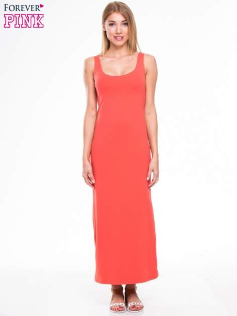 Czerwona długa sukienka maxi na ramiączkach