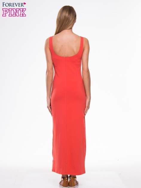 Czerwona długa sukienka maxi na ramiączkach                                  zdj.                                  4