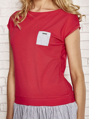 Czerwona dresowa sukienka tenisowa z kieszonką                                  zdj.                                  5