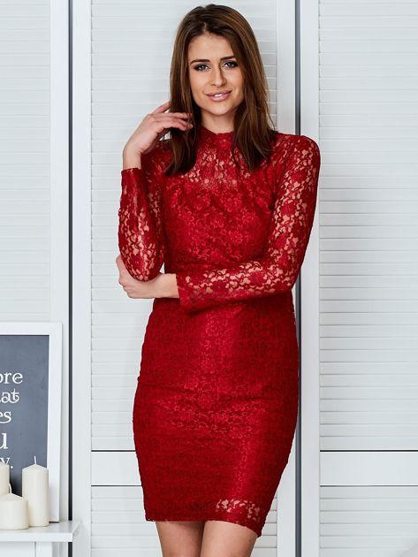 Czerwona elegancka koronkowa sukienka                                  zdj.                                  1