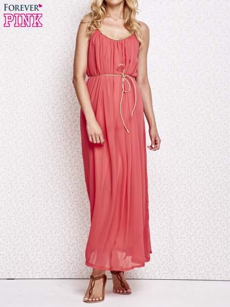 Czerwona grecka sukienka maxi ze złotym paskiem