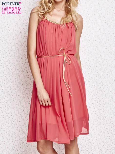 Czerwona grecka sukienka ze złotym paskiem                                  zdj.                                  1