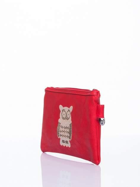 Czerwona kopertówka z dżetami motyw sowy                                  zdj.                                  3