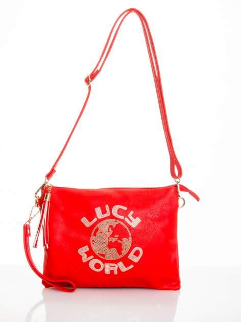 Czerwona kopertówka z dżetami napis LUCY WORLD                                  zdj.                                  3
