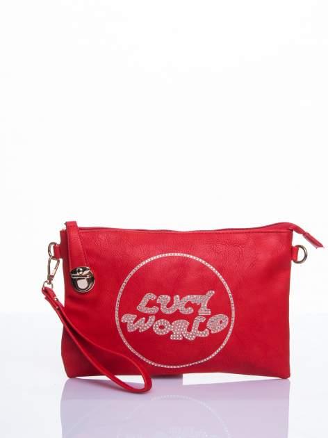 Czerwona kopertówka z dżetami napis LUCY WORLD                                  zdj.                                  1
