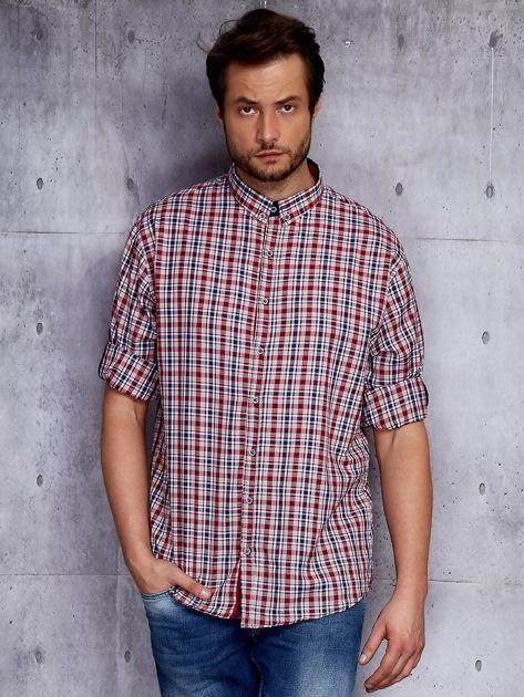 Czerwona koszula męska w kratę z podwijanymi rękawami PLUS SIZE                              zdj.                              1