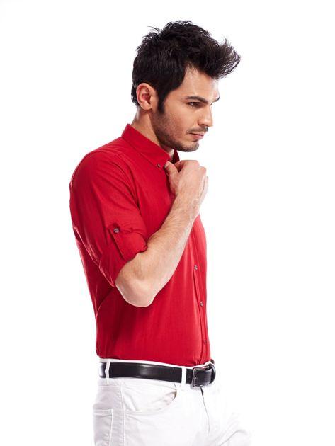 Czerwona koszula męska z podwijanymi rękawami                              zdj.                              8