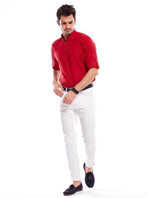 Czerwona koszula męska z podwijanymi rękawami                              zdj.                              9