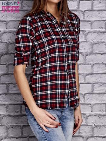 Czerwona koszula w drobną kratkę z kieszonką                                  zdj.                                  3