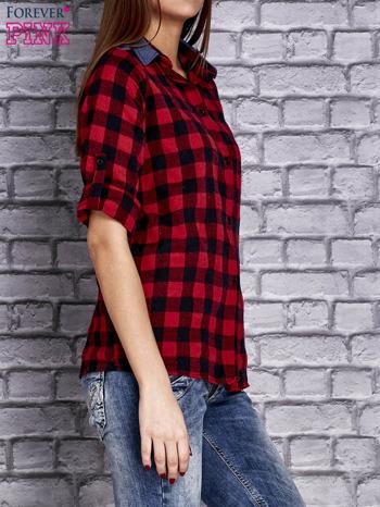 Czerwona koszula w kratę z denimową wstawką                                  zdj.                                  3