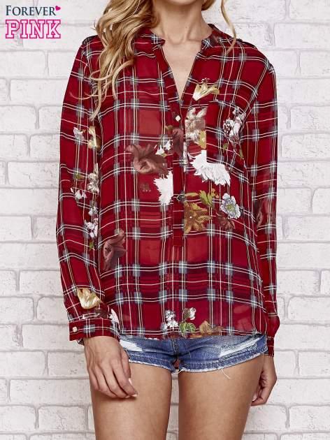 Czerwona koszula w kratę z kwiatami                                  zdj.                                  1