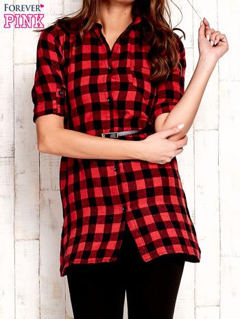 Czerwona koszula w kratę z paskiem                              zdj.                              1