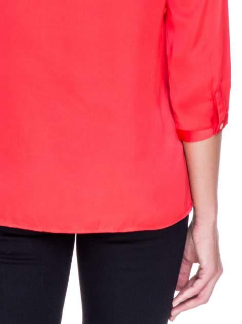 Czerwona koszula z marszczonym dekoltem i rękawami 3/4                                  zdj.                                  8