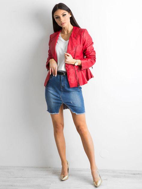 Czerwona kurtka ze skóry ekologicznej                              zdj.                              4