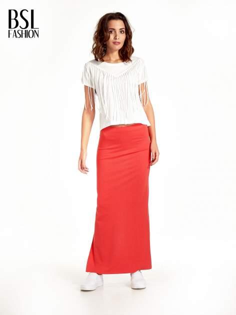 Czerwona maxi spódnica z rozcięciem z boku                                  zdj.                                  8