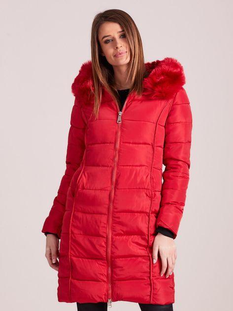 Czerwona pikowana damska kurtka zimowa                               zdj.                              1