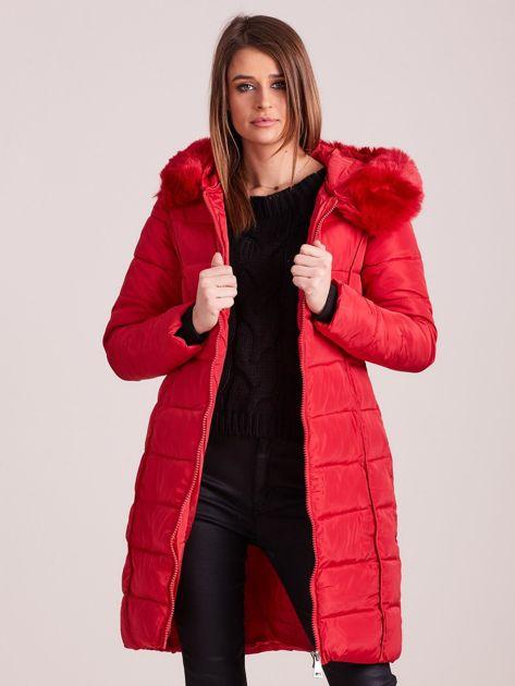 Czerwona pikowana damska kurtka zimowa                               zdj.                              7