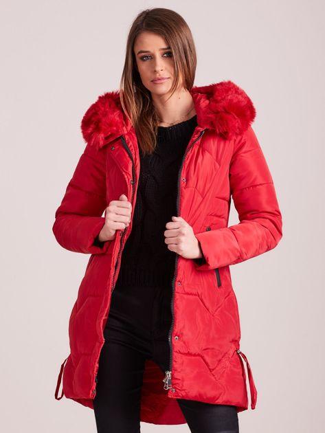 Czerwona pikowana kurtka na zimę                              zdj.                              7