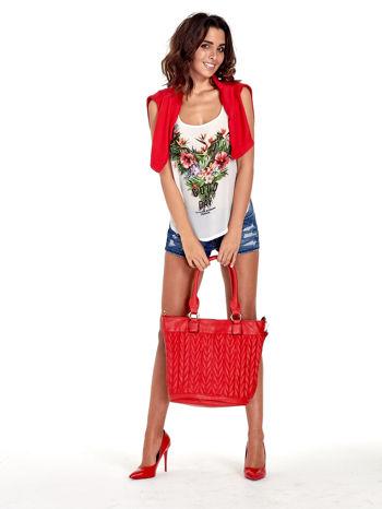 Czerwona pikowana torba na ramię                                  zdj.                                  12