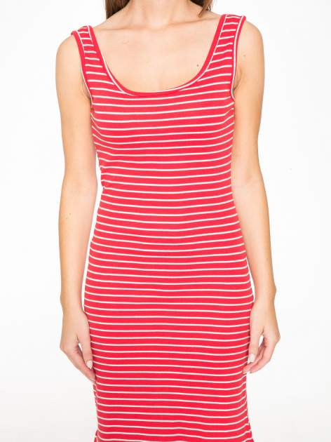 Czerwona prosta długa sukienka w paski z bawełny                                  zdj.                                  9