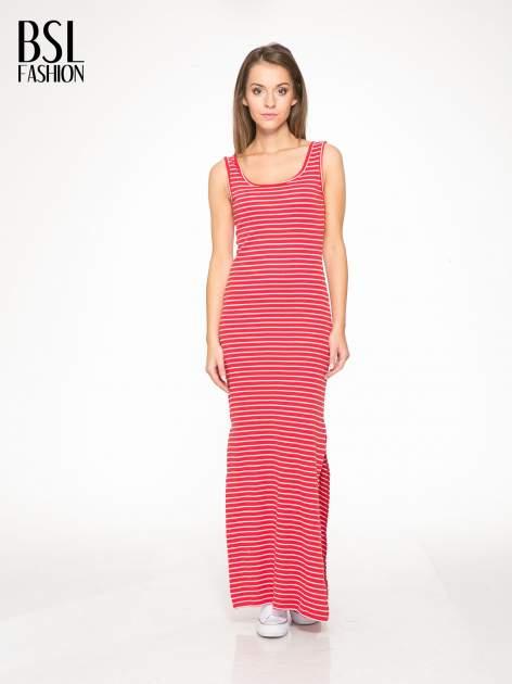 Czerwona prosta długa sukienka w paski z bawełny                                  zdj.                                  1