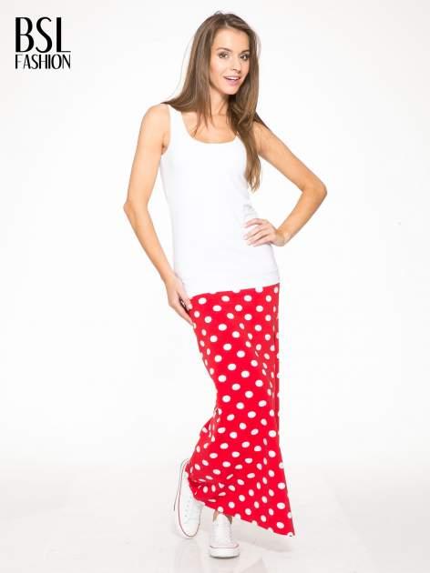 Czerwona spódnica maxi w grochy                                  zdj.                                  2