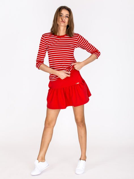 Czerwona spódnica z falbaną                              zdj.                              4