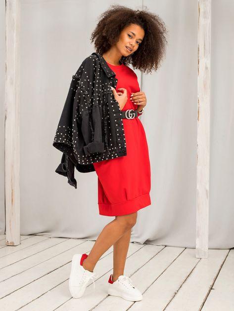 Czerwona sukienka Cristine                              zdj.                              4