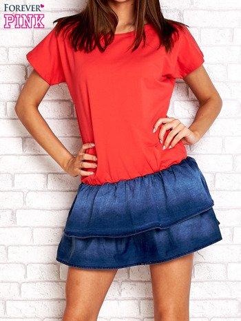 Czerwona sukienka dresowa z jeansowym dołem                                  zdj.                                  1