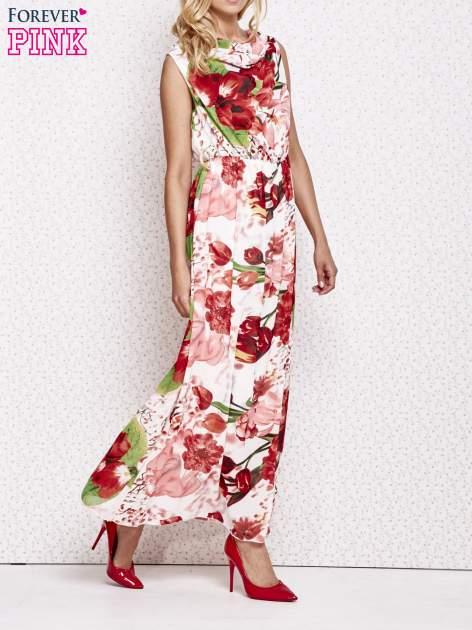 Czerwona sukienka maxi w kwiaty                                  zdj.                                  3