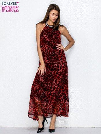 Czerwona sukienka maxi w panterę z biżuteryjnym dekoltem                                  zdj.                                  4