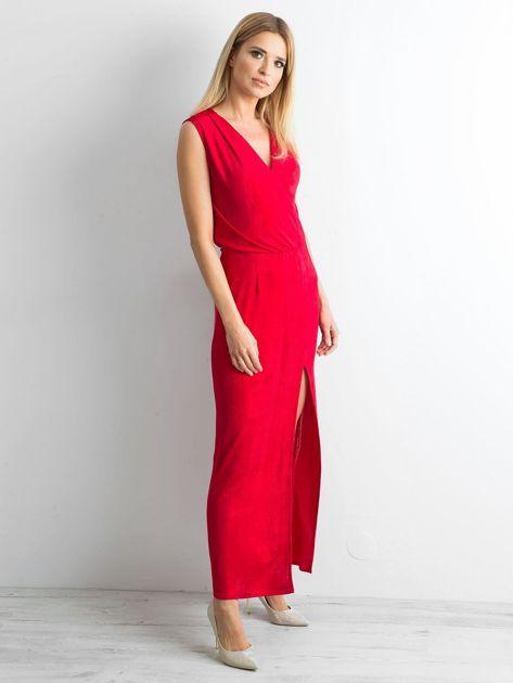 Czerwona sukienka maxi z rozcięciem                              zdj.                              3