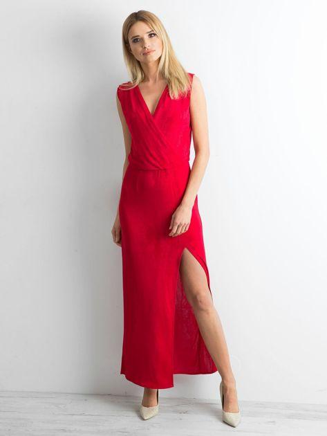 Czerwona sukienka maxi z rozcięciem                              zdj.                              4