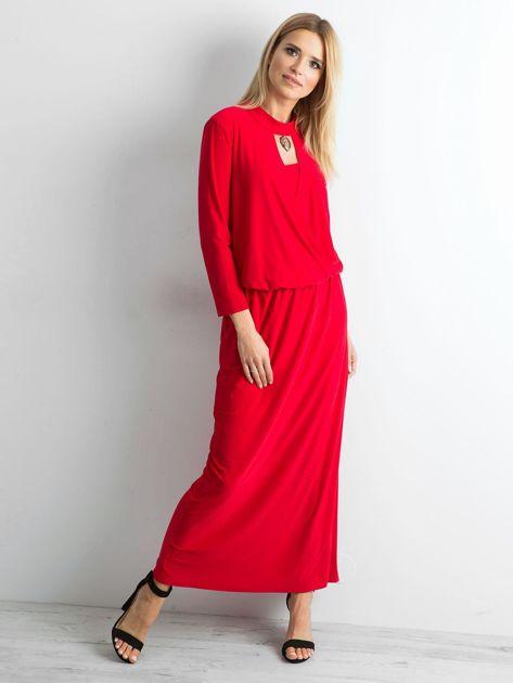 Czerwona sukienka maxi z wycięciem                              zdj.                              1