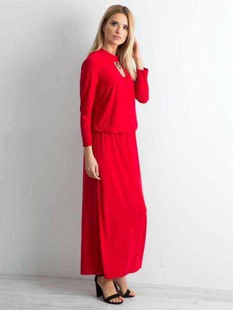 Czerwona sukienka maxi z wycięciem                              zdj.                              3