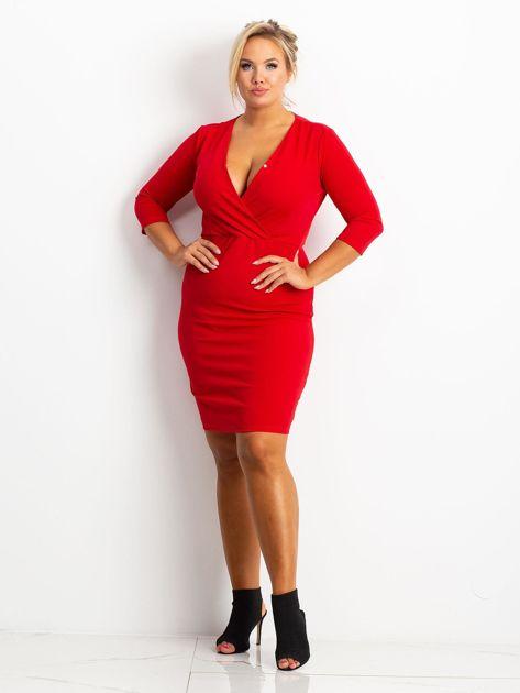 Czerwona sukienka plus size Miranda                              zdj.                              4