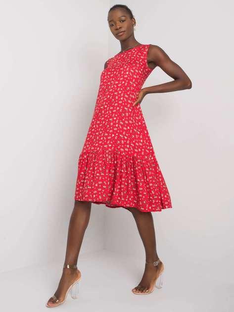 Czerwona sukienka z falbaną Angeza RUE PARIS