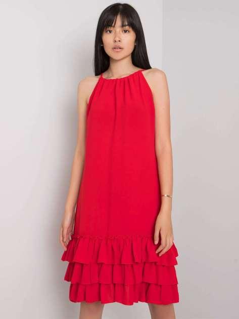 Czerwona sukienka z falbaną Routh RUE PARIS