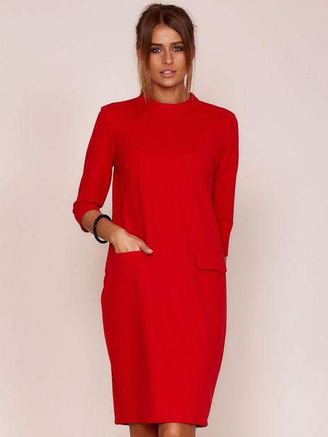 Czerwona sukienka z kieszeniami                               zdj.                              1