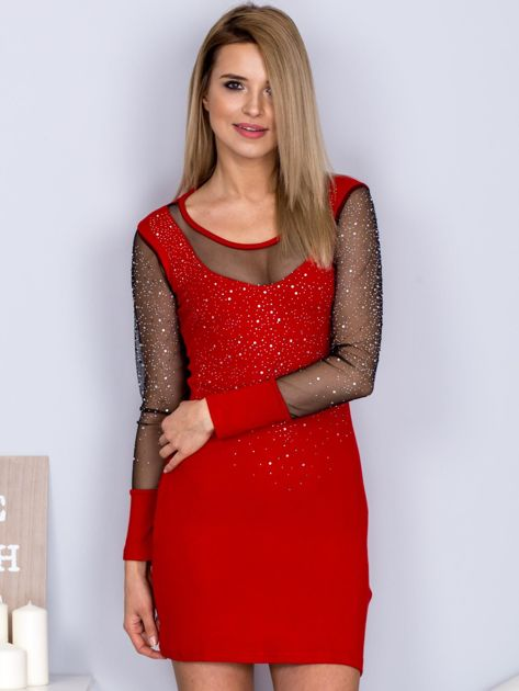 Czerwona sukienka z siateczkowym dekoltem i dżetami                              zdj.                              1
