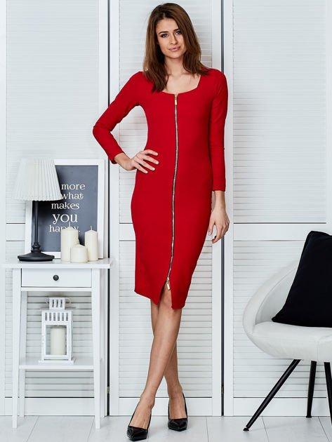 Czerwona sukienka z suwakiem                              zdj.                              4