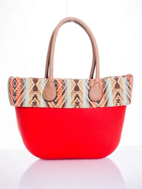 Czerwona torba gumowa z motywem azteckim