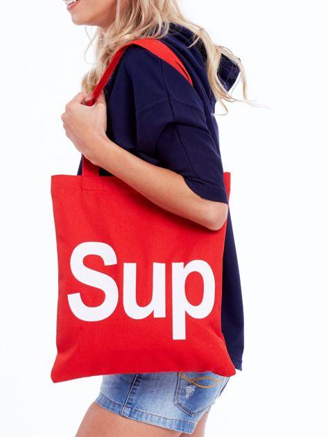 Czerwona torba materiałowa z napisem SUP                              zdj.                              1