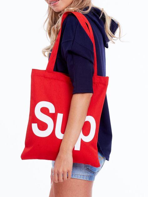Czerwona torba materiałowa z napisem SUP                              zdj.                              2