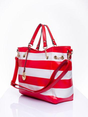 Czerwona torba shopper bag w pasy efekt saffiano                                  zdj.                                  3