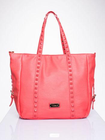 Czerwona torba shopper bag z kolorowymi ćwiekami                                  zdj.                                  1