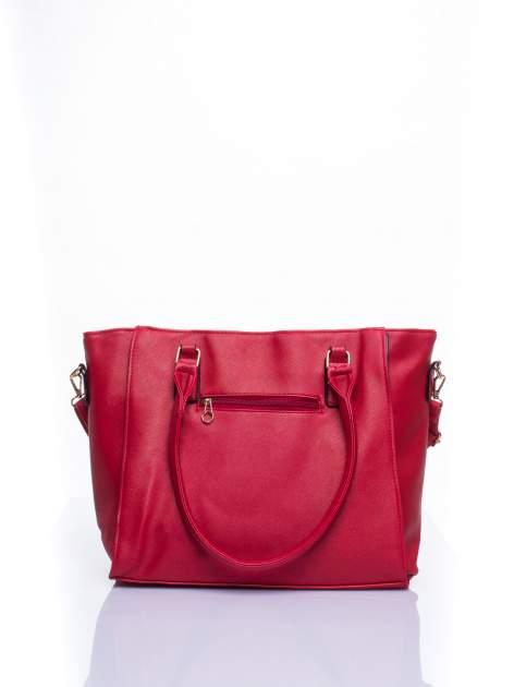 Czerwona torba shopper bag z odpinanym paskiem                                  zdj.                                  4